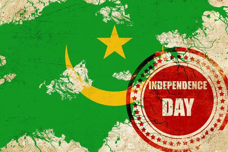 independent day: Mauritania flag with some soft highlights and folds Stock Photo