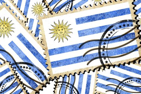 isolation backdrop: Uruguay flag with some soft highlights and folds Stock Photo