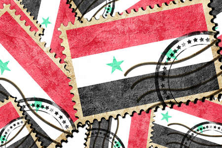 isolation backdrop: Syria flag with some soft highlights and folds Stock Photo