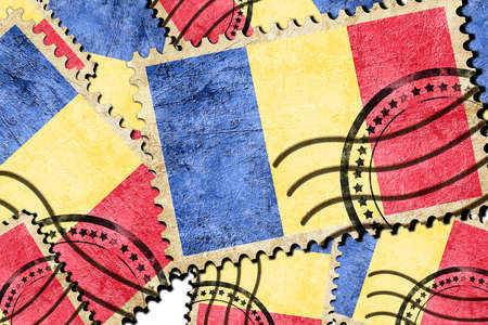 isolation backdrop: Romania flag with some soft highlights and folds Stock Photo