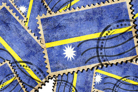 isolation backdrop: Nauru flag with some soft highlights and folds Stock Photo