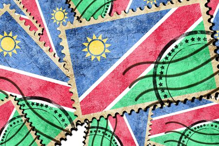 isolation backdrop: Namibian flag with some soft highlights and folds Stock Photo