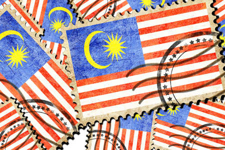 isolation backdrop: Malaysia flag with some soft highlights and folds Stock Photo