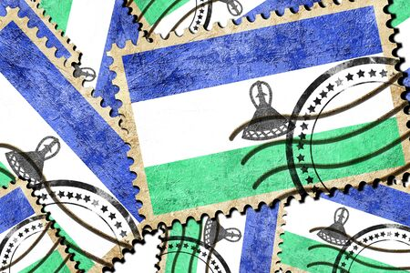 isolation backdrop: Lesotho flag with some soft highlights and folds