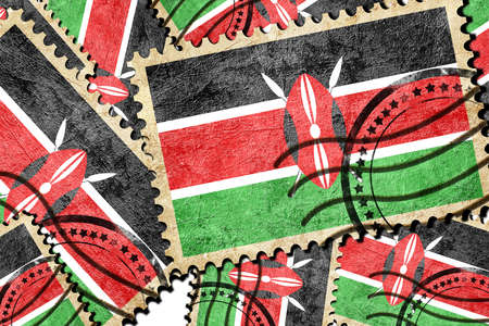 isolation backdrop: kenya flag with some soft highlights and folds Stock Photo
