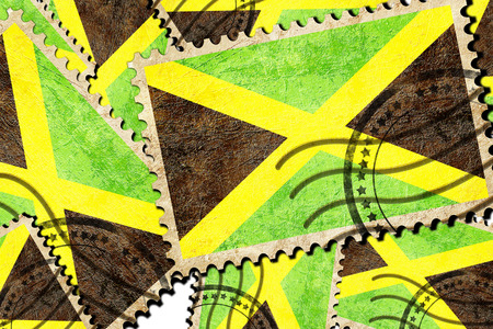 isolation backdrop: Jamaica flag with some soft highlights and folds Stock Photo