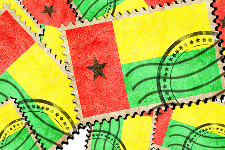 isolation backdrop: Guinea bissau flag with some soft highlights and folds