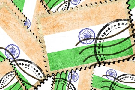 indian postal stamp: India flag with some soft highlights and folds