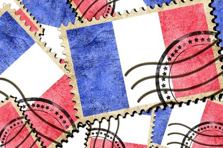 isolation backdrop: France flag with some soft highlights and folds Stock Photo