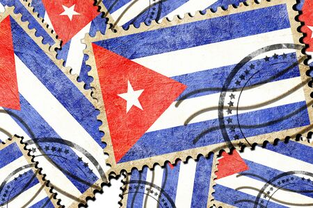 vintage stamp: Cuba flag with some soft highlights and folds Stock Photo