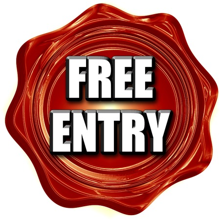 entry admission: Free entry sign with some soft smooth lines