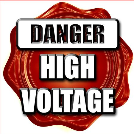 voltage sign: high voltage sign with some soft smooth lines Stock Photo