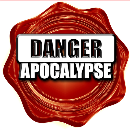 caution chemistry: apocalypse danger background on a grunge background Stock Photo