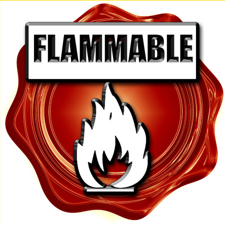 inflammable: Flammable hazard sign with yellow and black colors