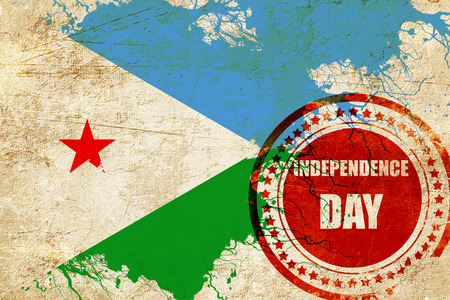 independent day: Djibouti flag with some soft highlights and folds
