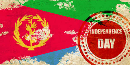 independent day: Eritrea flag with some soft highlights and folds