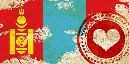 independent mongolia: Mongolia flag with some soft highlights and folds