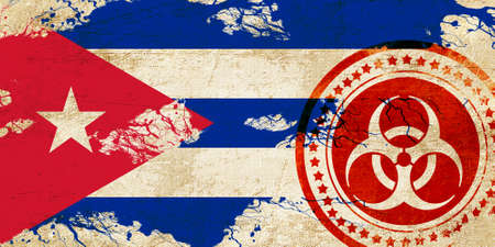 cuba flag: Cuba flag with some soft highlights and folds Stock Photo