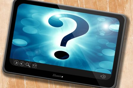 think tank: Question mark on a soft dark background Stock Photo