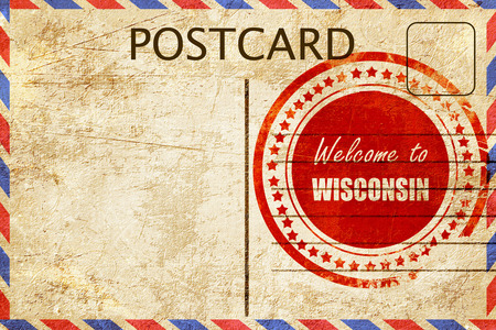 wisconsin: Vintage postcard Welcome to wisconsin with some smooth lines