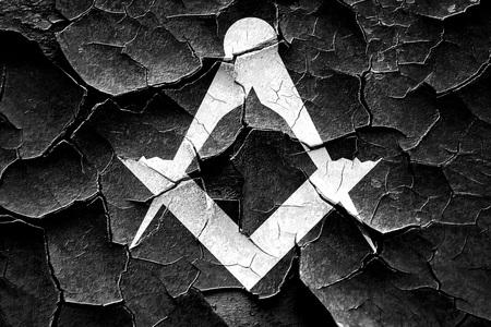 freemasonry: Grunge cracked Masonic freemasonry symbol with some soft smooth lines