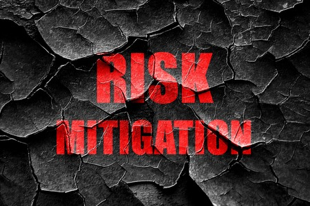 mitigate: Grunge cracked Risk mitigation sign with some smooth lines and highlights