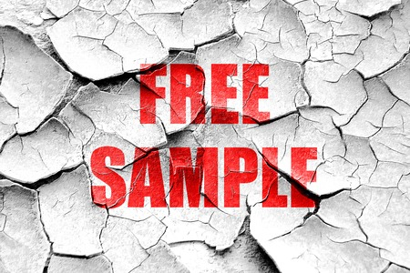 free sample: Grunge cracked free sample sign with some soft smooth lines