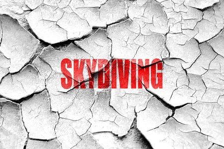 sky dive: Grunge cracked skydiving sign background with some soft smooth lines