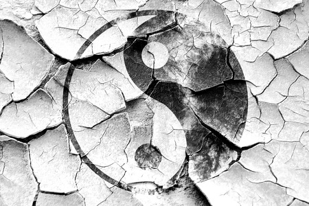 ying yan: Grunge cracked Ying yang symbol with some soft smooth lines Stock Photo