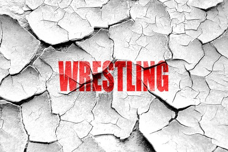 wrestle: Grunge cracked wrestling sign background with some soft smooth lines