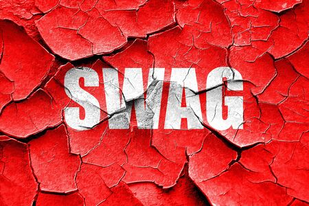 swag: Grunge cracked swag internet slang with some soft smooth lines Stock Photo