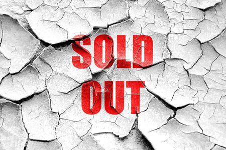 stockmarket: Grunge cracked sold out sign with some smooth lines Stock Photo