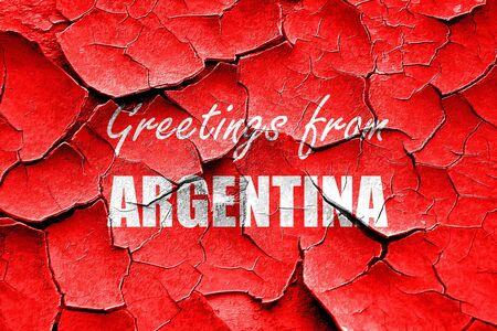 argentine: Grunge cracked Greetings from argentine card with some soft highlights