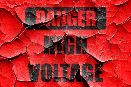 voltage sign: Grunge cracked high voltage sign with some soft smooth lines