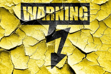 voltage sign: Grunge cracked High voltage sign with yellow and black colors
