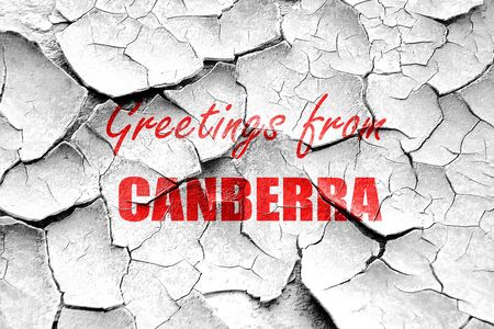 Canberra: Grunge cracked Greetings from canberra with some smooth lines