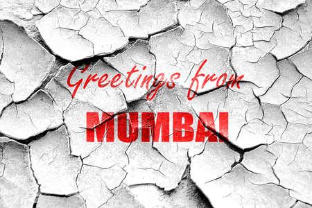 mumbai: Grunge cracked Greetings from mumbai with some smooth lines Stock Photo