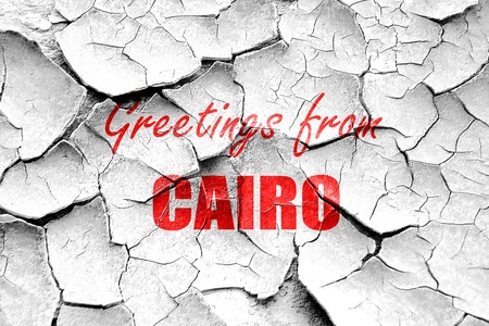 cairo: Grunge cracked Greetings from cairo with some smooth lines Stock Photo