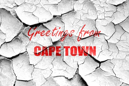cape town: Grunge cracked Greetings from cape town with some smooth lines