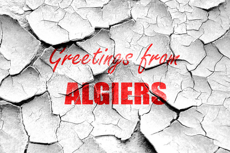 algiers: Grunge cracked Greetings from algiers with some smooth lines