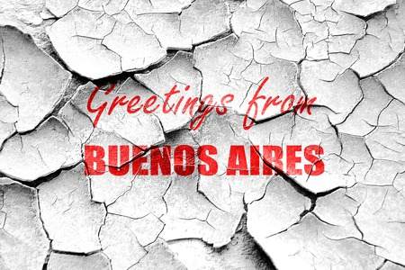 aires: Grunge cracked Greetings from buenos aires with some smooth lines Stock Photo
