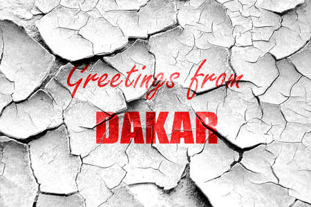 dakar: Grunge cracked Greetings from dakar with some smooth lines