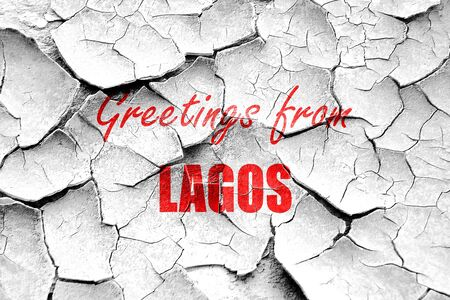 lagos: Grunge cracked Greetings from lagos with some smooth lines