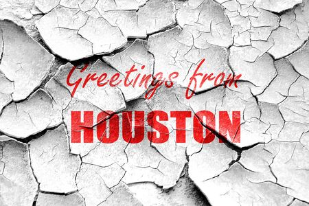 houston: Grunge cracked Greetings from houston with some smooth lines