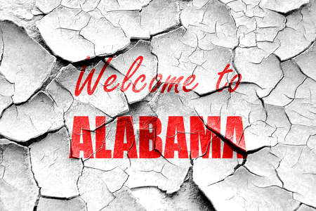 alabama: Grunge cracked Welcome to alabama with some smooth lines Stock Photo