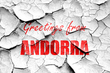 tourism in andorra: Grunge cracked Greetings from andorra card with some soft highlights Stock Photo
