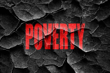 economic depression: Grunge cracked Poverty Recession sign background with some smooth lines