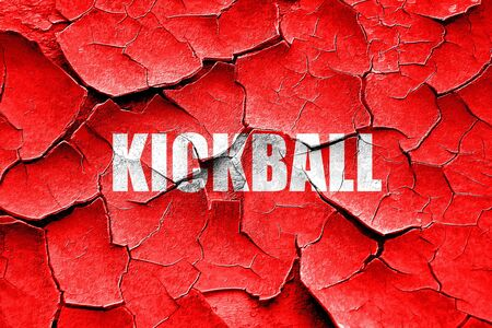 kickball: Grunge cracked kickball sign background with some soft smooth lines