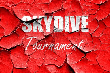 skydive: Grunge cracked skydive sign background with some soft smooth lines Stock Photo