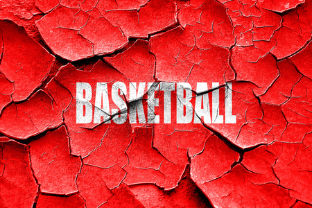 international basketball: Grunge cracked basketball sign background with some soft smooth lines Stock Photo